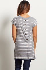 Grey Striped Pocket Front Button Back Top