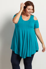 Teal Cold Shoulder Plus Tunic