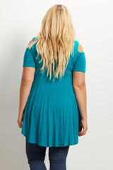 Teal Cold Shoulder Maternity Plus Tunic
