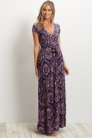 Navy Blue Abstract Short Sleeve Maxi Dress