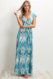 Teal Abstract Short Sleeve Maxi Dress