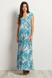 Teal Abstract Short Sleeve Maternity Maxi Dress
