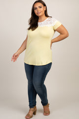 Yellow Lace Neckline Plus Top