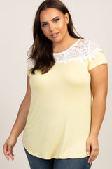 Yellow Lace Neckline Maternity Plus Top