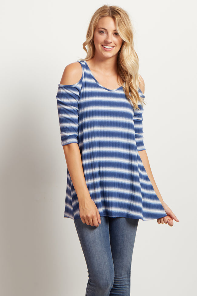 Blue Striped Cold Shoulder Top