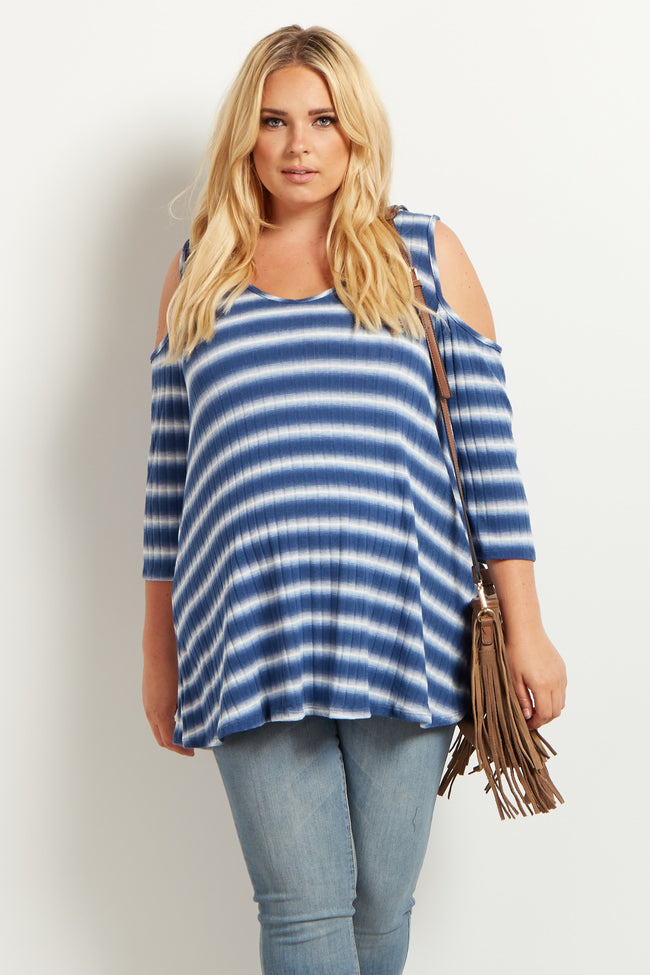 Blue Striped Cold Shoulder Plus Size Maternity Top