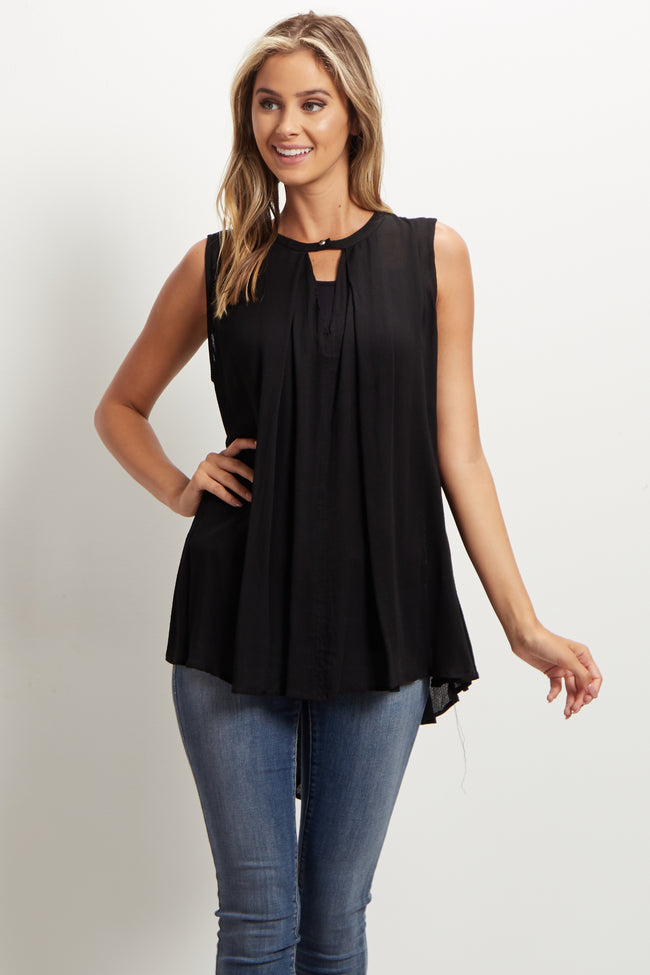 Black Cutout Front Sleeveless Blouse