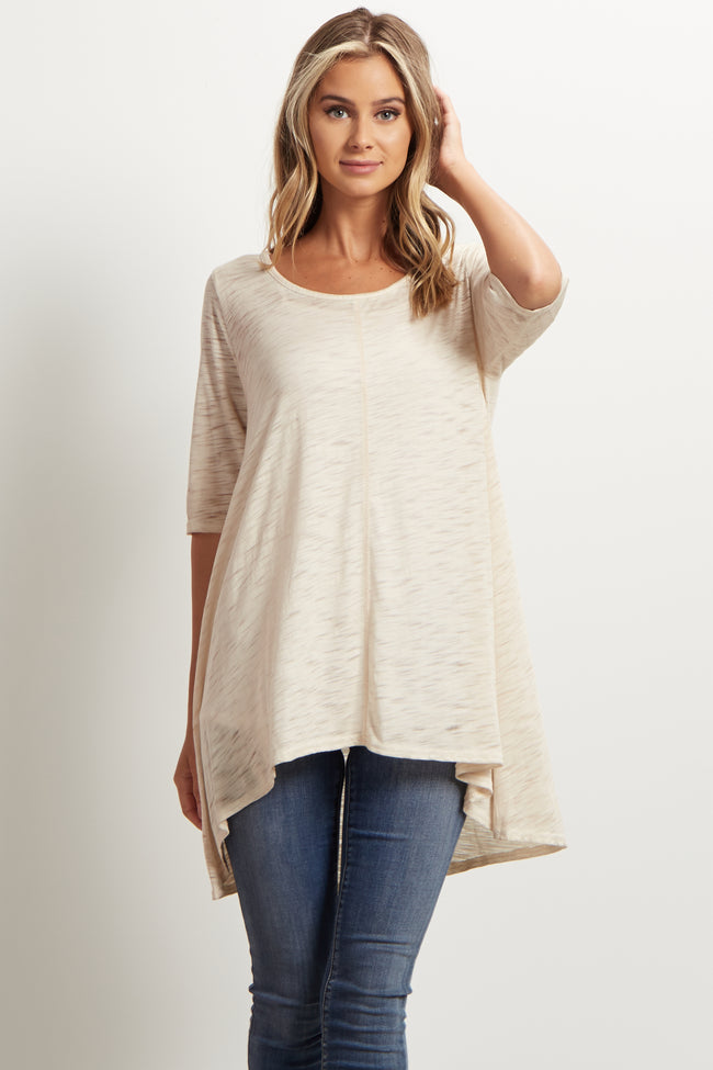 Taupe Heathered Hi-Low Tunic