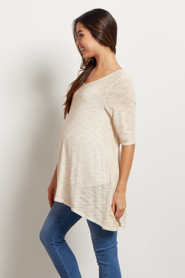 Taupe Heathered Hi-Low Maternity Tunic