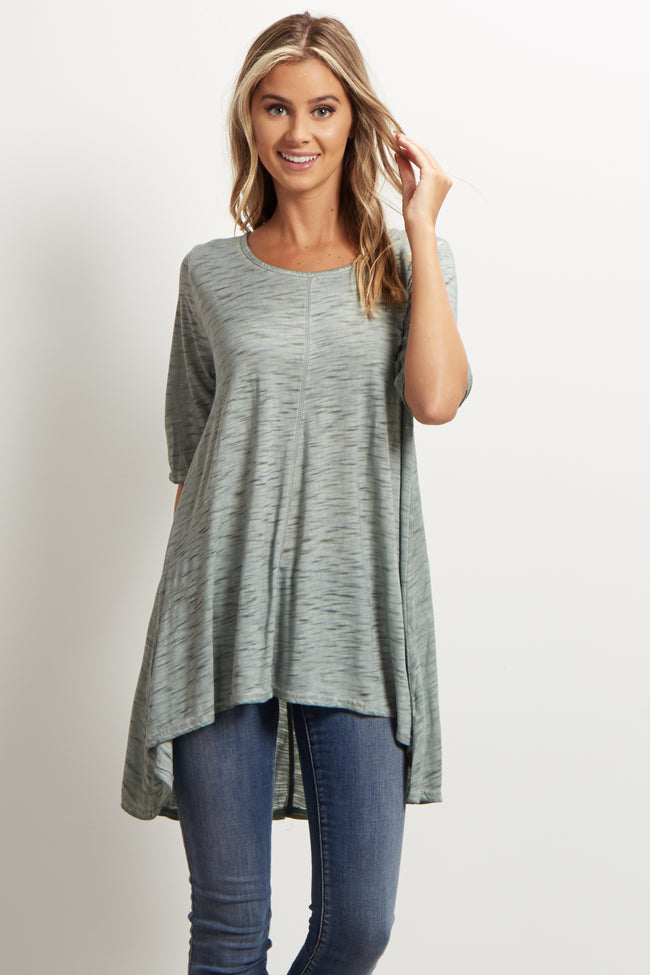 Green Heathered Hi-Low Maternity Tunic