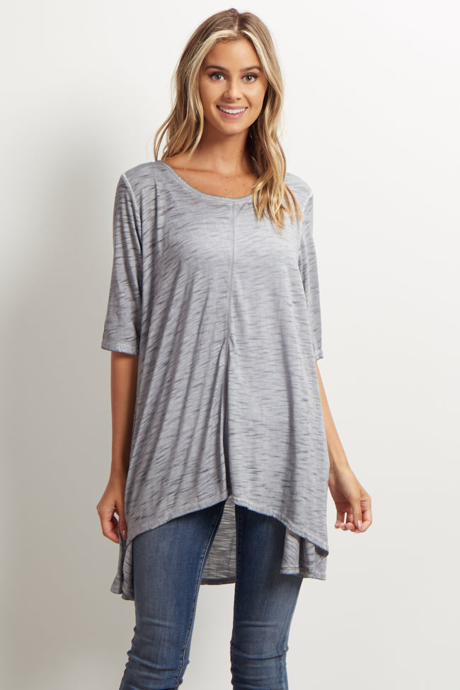 Grey Heathered Hi-Low Tunic