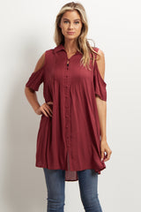 Burgundy Cold Shoulder Tunic