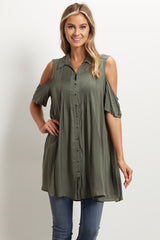 Olive Cold Shoulder Maternity Tunic