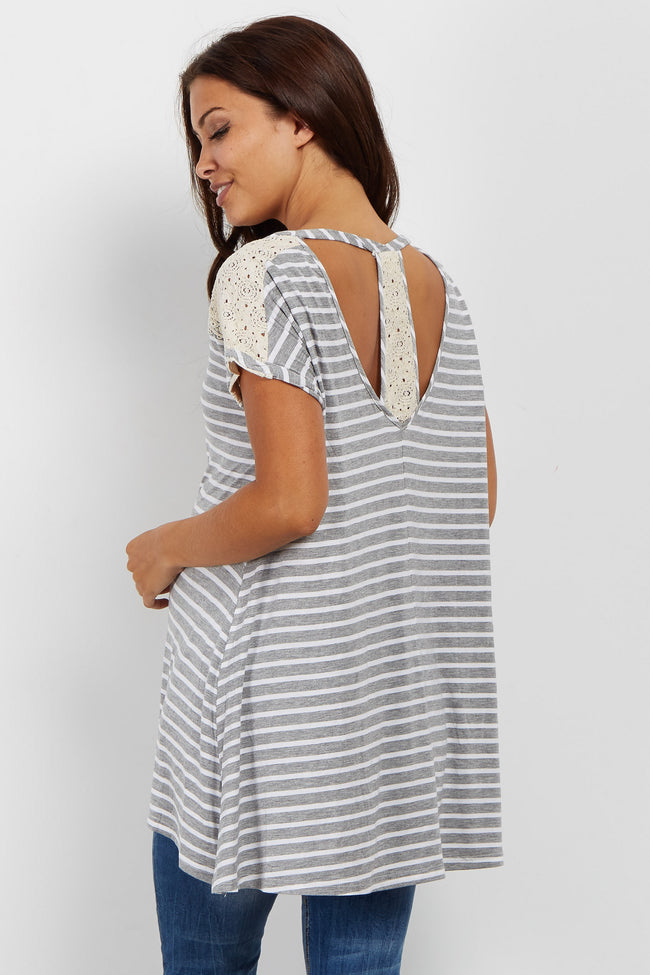 Grey Striped Lace Accent Maternity Top