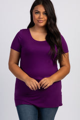 Purple Basic Short Sleeve Plus Maternity Tee