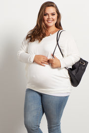 Ivory Long Dolman Sleeve Plus Size Maternity Top