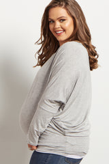 Grey Long Dolman Sleeve Plus Size Maternity Top