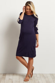 Navy Solid Crochet Sleeve Maternity Dress