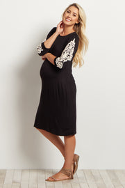 Black Solid Crochet Sleeve Maternity Dress