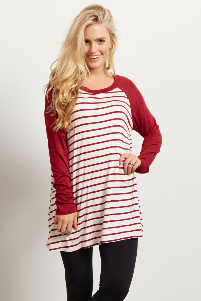 Burgundy Colorblock Sleeve Striped Maternity Top