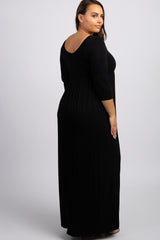 Black 3/4 Sleeve Plus Maxi Dress