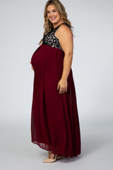 PinkBlush Burgundy Pleated Chiffon Lace Top Plus Maternity Maxi Dress