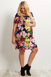 Navy Blue Floral Mesh Neckline Plus Size Maternity Dress