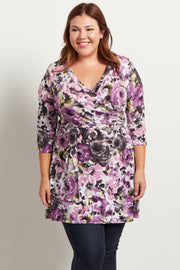 Lavender Floral Draped Sash Tie Plus Size Dress
