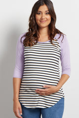 Lavender Striped Colorblock Sleeve Maternity Top
