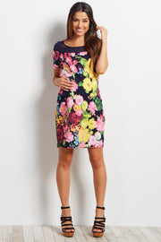 Navy Floral Mesh Neckline Maternity Dress