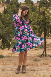 Navy Floral Sash Tie Plus Maternity Dress