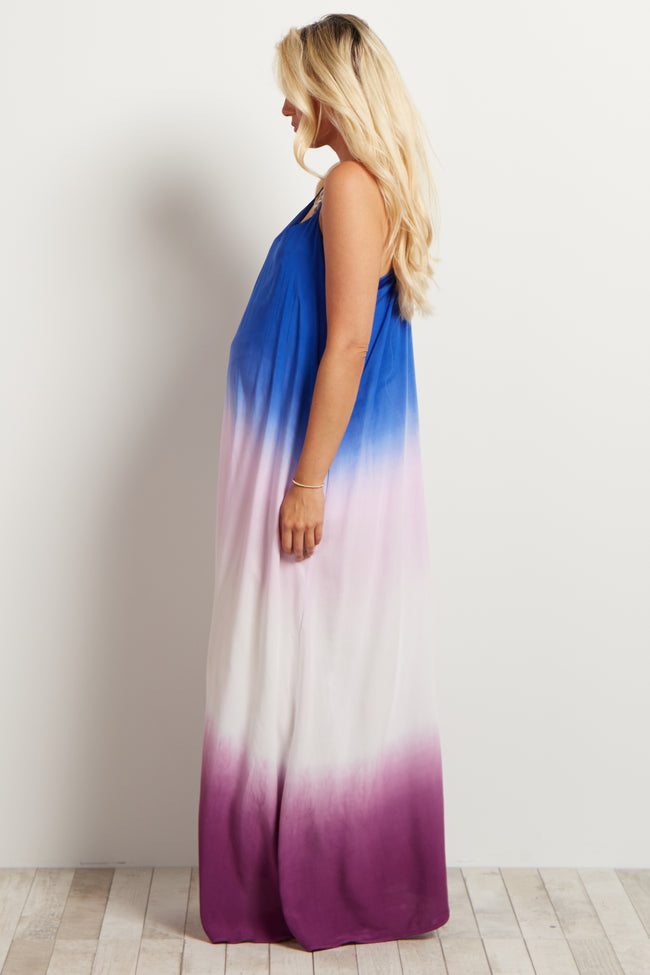 Royal Purple Ombre Maternity Maxi Dress