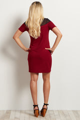 Burgundy Short Sleeve Mesh Neckline Maternity Dress