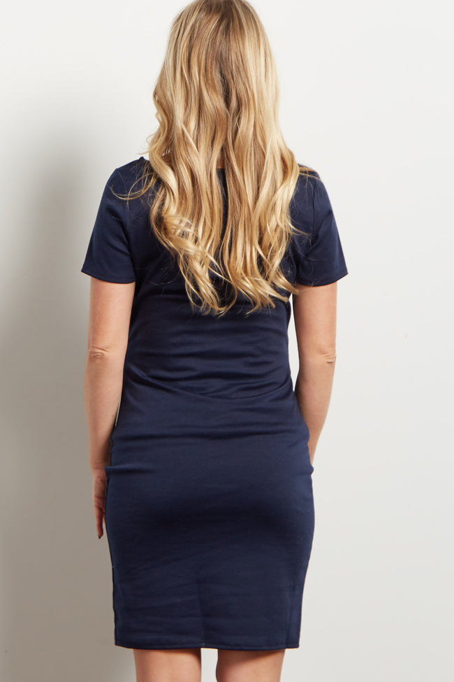 Navy Solid Short Sleeve Fitted Maternity Dress