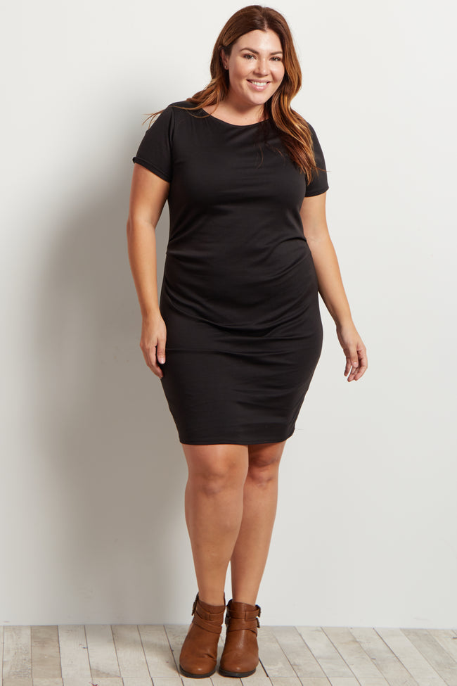 Black Short Sleeve Fitted Plus Size Maternity Dress