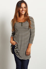 Olive Green Striped Henley Tunic