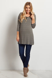Olive Green Striped Henley Maternity Tunic
