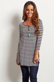 Charcoal Grey Striped Henley Tunic