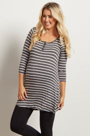 Charcoal Grey Striped Henley Maternity Tunic