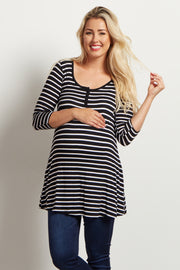 Black Striped Henley Maternity Tunic