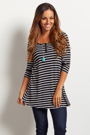 Black Striped Henley Tunic