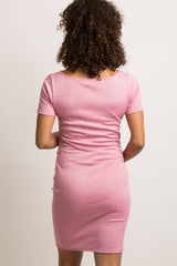 Pink Short Sleeve Fitted Maternity Dress
