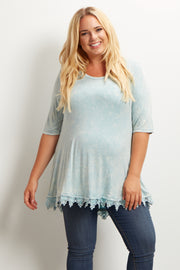 Mint Green Faded Lace Trim Plus Size Maternity Top