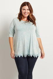 Mint Green Faded Lace Trim Plus Size Top