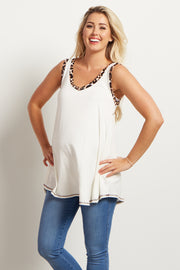 Ivory Animal Trim Maternity Tank Top