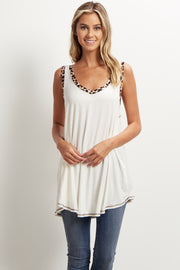 Ivory Animal Trim Tank Top