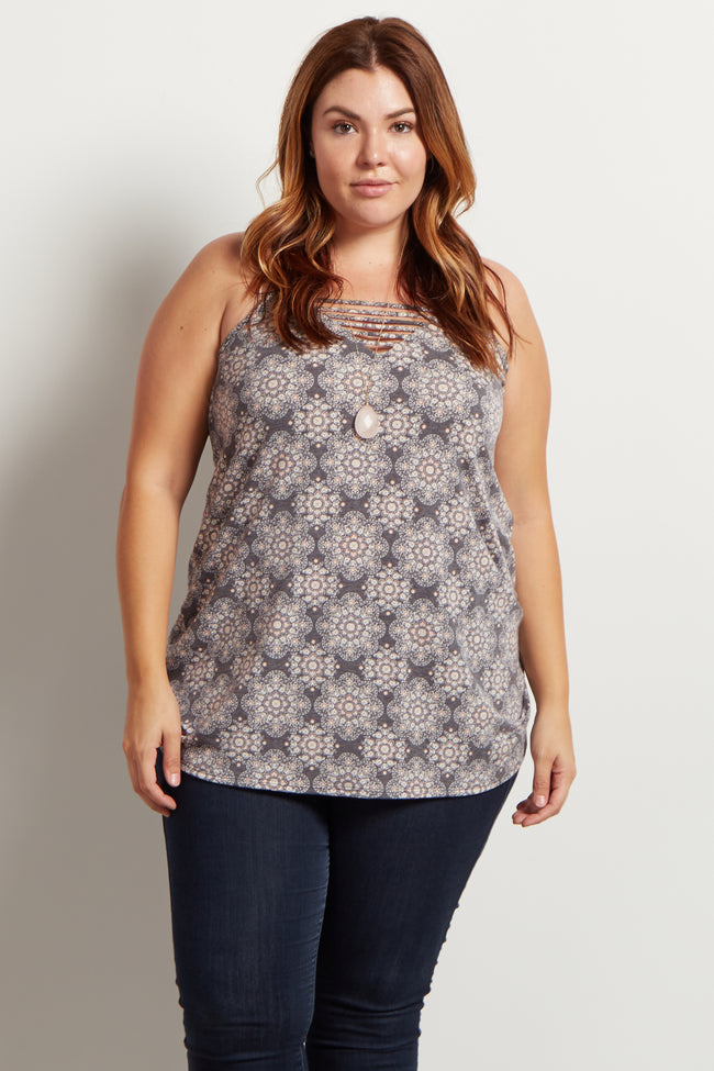 Charcoal Grey Floral Cutout Plus Size Maternity Tank Top