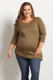 Olive Basic 3/4 Sleeve Plus Size Maternity Top