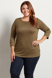 Olive Basic 3/4 Sleeve Plus Size Top
