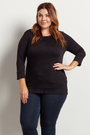 Black Basic 3/4 Sleeve Plus Size Top